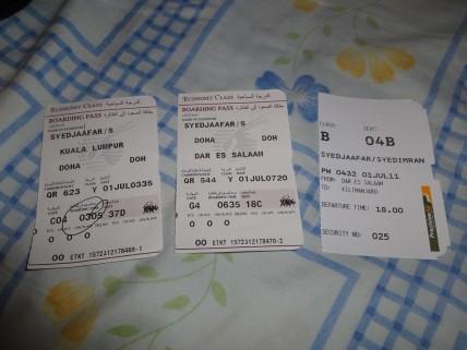 KL > Doha > Dar Es Salaam > Kilimanjaro