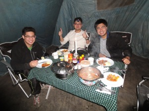 Dinner in mess tent