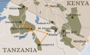 Tarangire map from Arusha