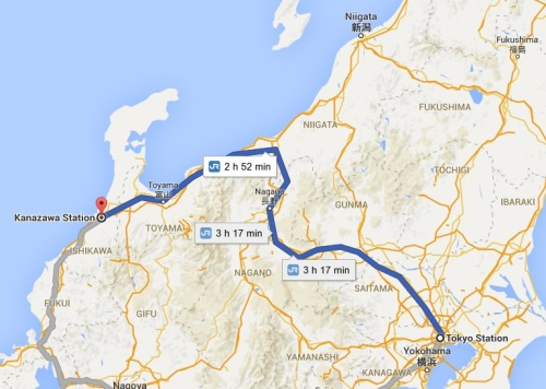 Route from Tokyo to Kanazawa