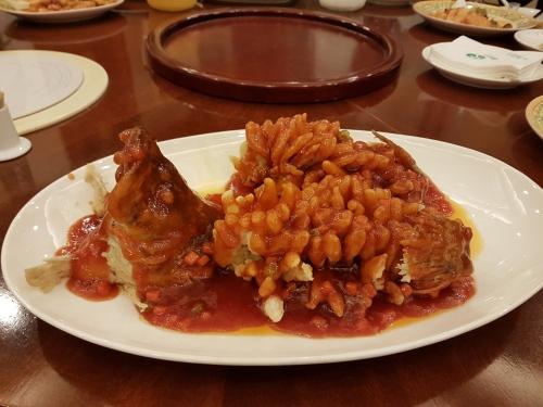 Unique fish dish at Hongbinlou Restaurant