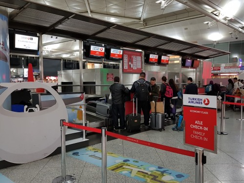 Turkish Airline family check-in