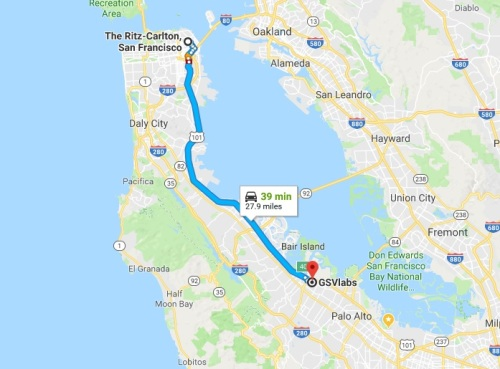 Route from San Francisco to GSV Labs