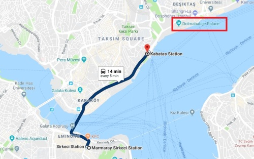 Tram from Sirkeci to Dolmabahce
