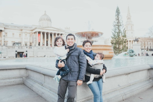 Family photo at Trafalgar Square